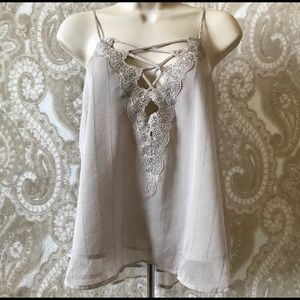 ASTR the label taupe lace up cami